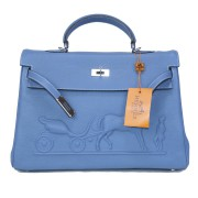Фото - Сумка Hermes Kelly 35 (16-223) цвет Синий